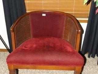 Chair  Maroon Velvet  Woven Sides