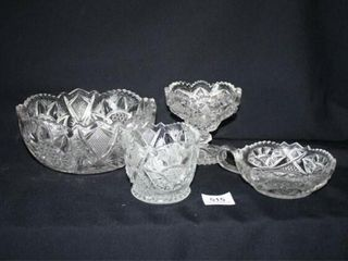 4 Pieces of Pressed Patterned Glass