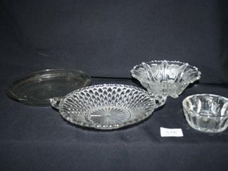Various glass dishes with different patterns