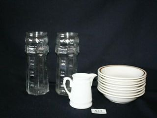 2   Red lobster Glass Containers  Diner Bowls