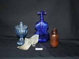 Various Glass Pieces   Blue Violin Bottle