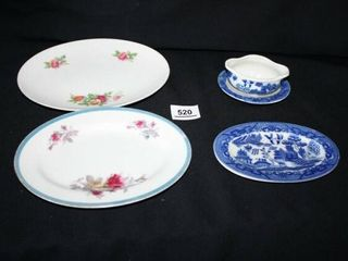 2 Oval Floral Dishes  Blue   White Oval Dish