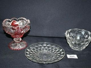 Candy Dish Patterned Glass with Red Accents