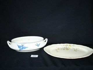 Oval Dish with Bluebird Pattern  Knowles dish