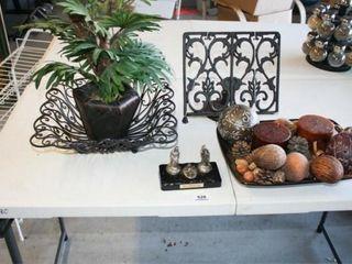 Recipe Holder  Fake Plant  2 Decorative Bowls
