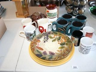 Various Coffee Mugs and Plates