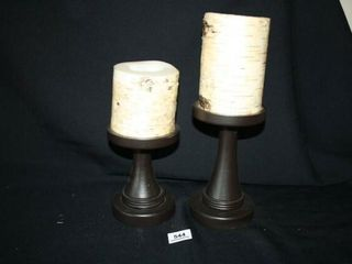 2 Birch Tree Candles w  candleholders