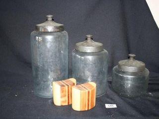 3 Decorative Jars with lids  Salt   Pepper