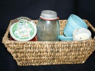 Basket w  various glassware  snow globe