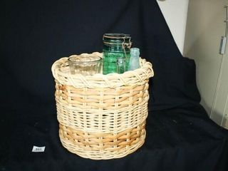 Round Basket w  various glassware