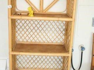 Wood Wicker Type Shelf  4 shelves