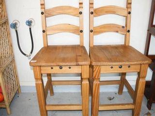 2 Wood Bar Stools seat height 24