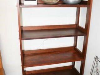 Wood Shelf w  Contents