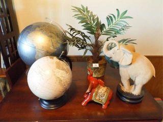 Globes  2  Elephants  2  Plant Decor