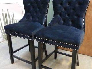 PAIR of Black Tufted Velvet Barstools missing the decorative Pulls off of the backs