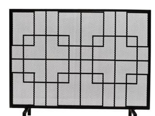 Alamance Single Panel Fireplace Screen   BlACK GOlD