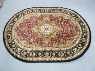 5 3  FT x 7 6  FT Oval Asian Red Black Area Rug