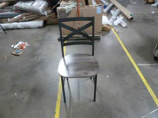 Single Crossback Metal and Wood Dining Chair