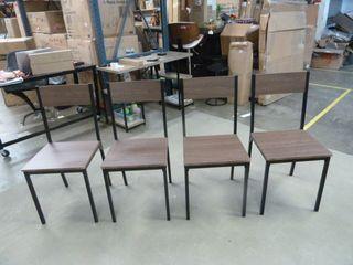 Set of Carbon loft Huggins Dark Brown and Metal Dining Chairs   SET OF 4