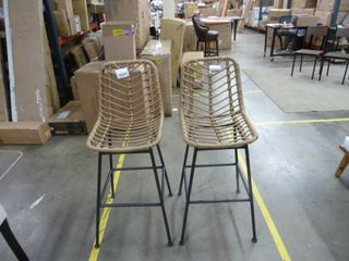 Pair of Demi Gray Natural Wicker Barstools   Bar Height   Set of 2
