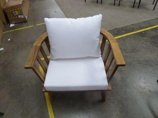 Single Teak Outdoor Chair w  White Cushions