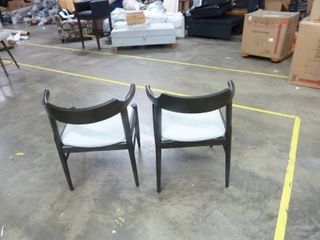 Pair of Wood Short Arm Dining Chairs   Set of 2