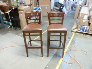 Pair Of Solid Wood Circa Barstools   OAK FININSH   Set of 2