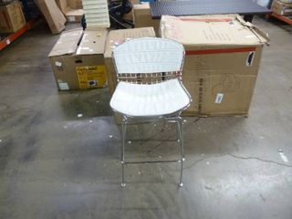 Single White leather Contemporary Barstool