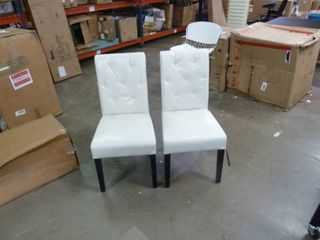 Pair of Tufted White Upholstered Dining Chairs