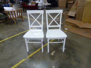 Pair of Crossback Dining Chairs   WHITE