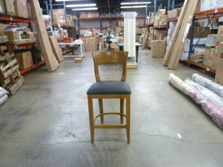 Single Wood and leather Seated Dining Chair