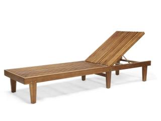 Nadine Outdoor Adjustable Wood Chaise lounger   TEAK FINISH