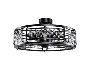 Wright 18  Black Crystal Ceiling Fan   MATTE BlACK