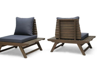 ONlY ONE CHAIR  NOT A PAIR  Sedona Outdoor Mid Century Tufled Accent Chair w  Dark Grey   GREY FINISH