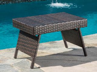 Outdoor Wicker Adjustable Folding Table   MUlIT BROWN