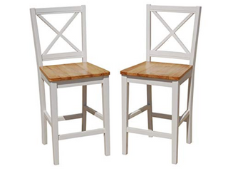 Simple living Virginia Crossback Dining Chairs   WHITE NATURAl