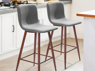 Set of Scargrill Grey Upholstered Stools   Set of 2   GREY