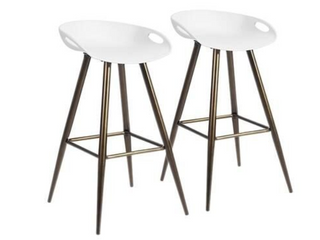 Silver Orchid Melies Fixed Height Bar Stool   Set of 2   WHITE BRONZE