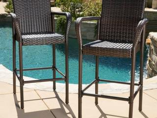 Delfina Outdoor Wicker Barstools   Set of 2   MUlTIBROWN