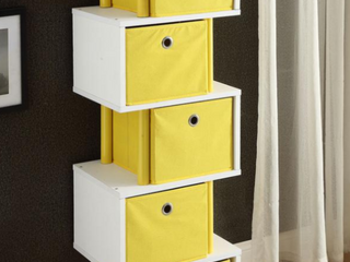 White Wood and Polyester Zig Zag 5 Drawer Storage   YEllOW