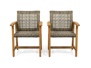 Hampton Outdoor Acacia Wood and Wicker Dining Chairs   Set of 2   light Grey Wash   Mix Black Wicker