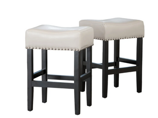 Christopher Knight Home lisette Backless leather Barstools   IVORY   SET OF 2