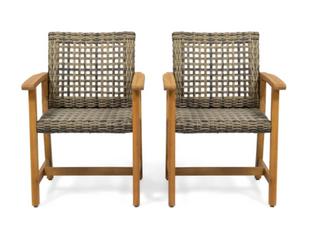Hampton Outdoor Acacia Wood Dining Chairs   TEAK FINISH   MIX MOCHA WICKER   Set of 2