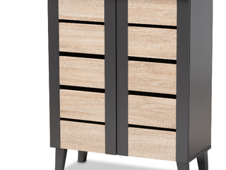 Modern and Contemporary Two Toned 2 door 9 part Shoe Cabinet   Hand Scraped Hardwood