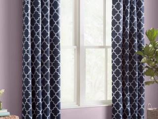 Temescal lattice Geometric Blackout Curtains   NAVY BlUE