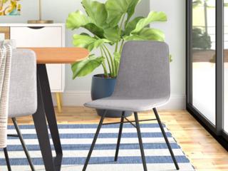 Set of Debora Upholstered Padded Side Chair w  Metal legs   SMOKE   SET OF 2