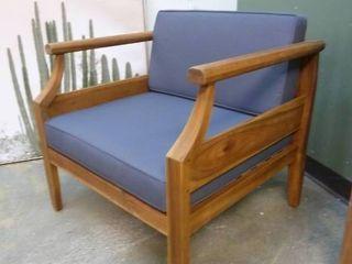 Beautiful Acacia Wood Club Chair with Blue Cushions