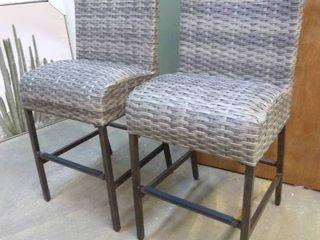 Pair of Grey Outdoor Wicker Barstools