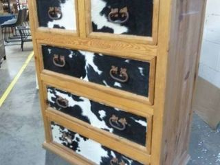 Pine Dresser with Cowhide Drawer Fronts