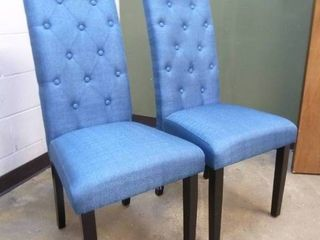 PAIR of Blue Tufted Dining Chairs